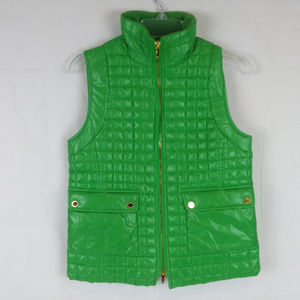 Tory Burch Shiny Green Quilted Puffer Down Vest XS